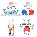 Hand drawn animals in love. Valentine's day card with typography elements. Stock Photos