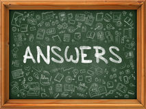 Hand Drawn Answers on Green Chalkboard. Royalty Free Stock Images