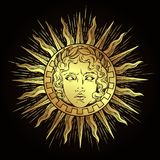 Hand drawn antique style sun with face of the greek and roman god Apollo. Flash tattoo or print design vector illustration.  vector illustration
