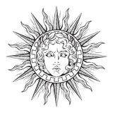 Hand drawn antique style sun with face of the greek and roman god Apollo. Flash tattoo or print design vector illustration.  royalty free illustration