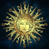 Hand drawn antique style sun with face of the greek and roman god Apollo over blue sky background. Flash tattoo or fabric print de. Sign vector illustration stock illustration