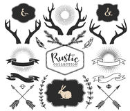 Hand drawn antlers, bursts, arrows, ribbons and frames Stock Images