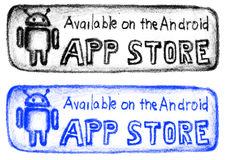 Hand drawn app store button royalty free illustration