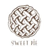 Hand drawn apple pie, tart or cake top view isolated on white. engraved traditional ink drawn pastry sketch