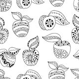 Hand drawn apples and leaves for anti stress colouring page. Seamless pattern for coloring book. Illustration in zentangle style. Black and white background vector illustration