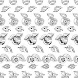Hand drawn apples and leaves for anti stress colouring page. Seamless pattern for coloring book. Illustration in zentangle style. Black and white background stock illustration