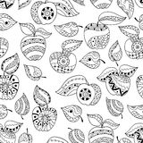 Hand drawn apples and leaves for anti stress colouring page. Seamless pattern for coloring book. Illustration in zentangle style. Black and white background royalty free illustration