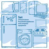 Hand-drawn appliances and computer equipment Stock Photo