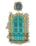 Hand drawn aquamarine balcony with lattice. Vintage shutters Royalty Free Stock Photo