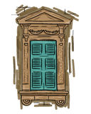 Hand drawn aquamarine window. Vintage artistic architecture shutters Royalty Free Stock Photography
