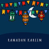 Hand drawn arabic lanterns with decorative flags, Ramadan  Royalty Free Stock Images