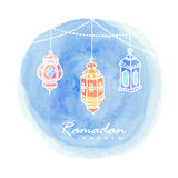 Hand drawn arabic lanterns, watercolor background, Ramadan. Hand drawn arabic lanterns, watercolor background, illustration for muslim community holy month