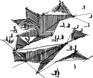 Architectural sketch of a modern abstract architecture. Hand drawn architectural sketch of a modern abstract architecture Royalty Free Stock Image