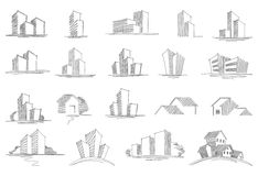Hand drawn architectural sketches Stock Image