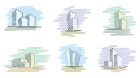 Hand drawn architectural sketches Royalty Free Stock Photography