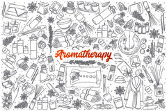 Hand drawn Aromatherapy doodle set with lettering. Hand drawn Aromatherapy doodle set background with red lettering in vector Stock Image
