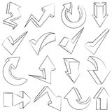 Hand drawn arrow icons. Collection of hand drawn arrow icons Stock Photos