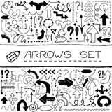 Hand drawn arrow icons with question and Stock Image