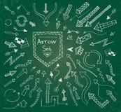 Hand drawn arrow icons set on green chalk board Stock Image