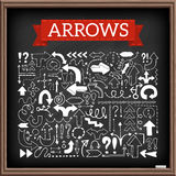 Hand drawn arrow icons set. With question and exclamation marks with chalkboard effect. Vector Illustration Royalty Free Stock Photo