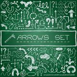Hand drawn arrow icons set with question and. Exclamation marks on green chalkboard. Vector Illustration Stock Photography