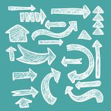 Hand-drawn arrow set in chalk rough grunge banner for web or infographic design. Illustration royalty free illustration