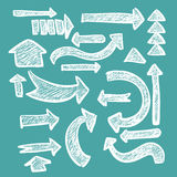 Hand-drawn arrow set in chalk rough grunge banner for web or infographic design. Vector royalty free stock photography