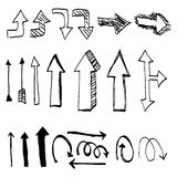 Hand drawn arrow set. Pencil drawing black and white. Hand drawn arrow set. Creative hand drawing arrows vector illustration Royalty Free Stock Photo