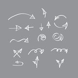 Hand drawn  arrow collection on gray background Stock Photo