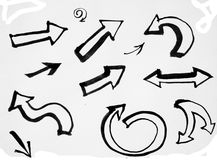 Different Arrows Set in black and white Stock Photos