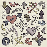 Hand drawn arrows. Set of different style doodle arrows Royalty Free Stock Photo