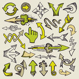 Hand drawn arrows. Set of different style doodle arrows Royalty Free Stock Images