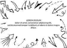 Hand drawn arrows background Stock Images