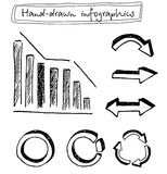 Hand drawn arrows. Hand drawn black and white infographic set Royalty Free Stock Image