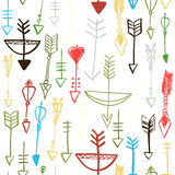 Hand drawn arrows and bows seamless pattern Royalty Free Stock Images