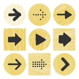 Hand drawn arrows buttons Stock Photography
