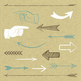 Hand drawn arrows. 15 hand drawn arrows on cardboard with vector illustration Royalty Free Stock Photos
