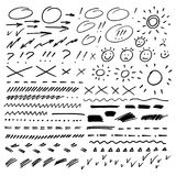 Hand drawn arrows, circles and abstract doodle. Vector illustration. Hand drawn arrows, circles and abstract doodle. Vector set on white background royalty free illustration