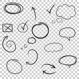 Hand drawn arrows and circles icon set. Collection of pencil ske Royalty Free Stock Photo
