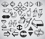 Hand-drawn arrows collection Stock Images