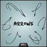 Hand Drawn Arrows Design. Vector Elements. Digital Isolated Creative Arrows Illustration. EPS10 Royalty Free Stock Photo