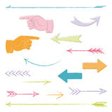 Hand drawn arrows. 15 handdrawn arrows with pastel colors Royalty Free Stock Photo