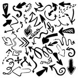 Hand drawn  arrows icons set isolated on white background Stock Photo