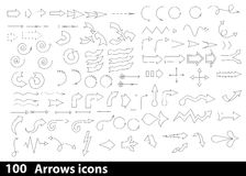 100 hand-drawn arrows icons Stock Image