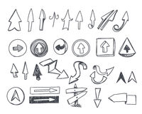 Hand-drawn arrows set Royalty Free Stock Photo