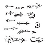 Hand drawn arrows set. Hand drawn arrow doodles, black and white colors Stock Images
