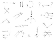 15 hand-drawn arrows.Vector illustration. A set of 15 arrow pointers stock illustration
