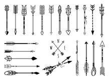 Hand drawn arrows set. Big set of hand drawn arrows. Fighting arrow, munition. Vector illustration Stock Photos