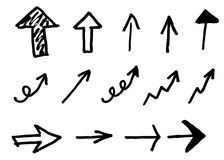 Hand drawn arrows set. Royalty Free Stock Images