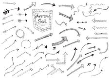 Hand drawn arrows. Set isolated on white background Vector illustration Royalty Free Stock Image